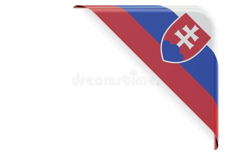 Slovakien flaggahörn, knapp framförande 3d royaltyfri illustrationer