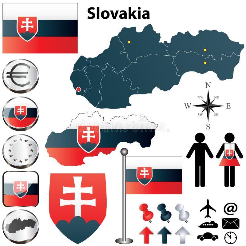 Slovakien kartlägger stock illustrationer