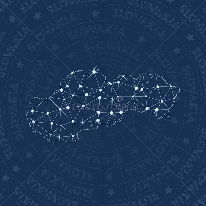 Slovakien nätverk, översikt för konstellationstilland stock illustrationer