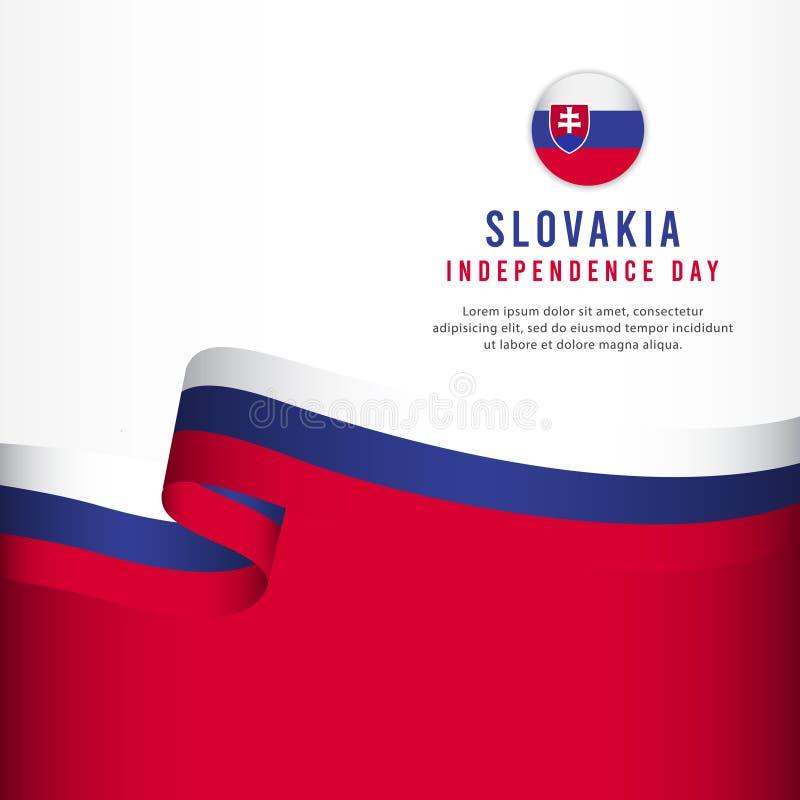 Slovakien självständighetsdagenberöm, illustration för mall för vektor för fastställd design för baner vektor illustrationer