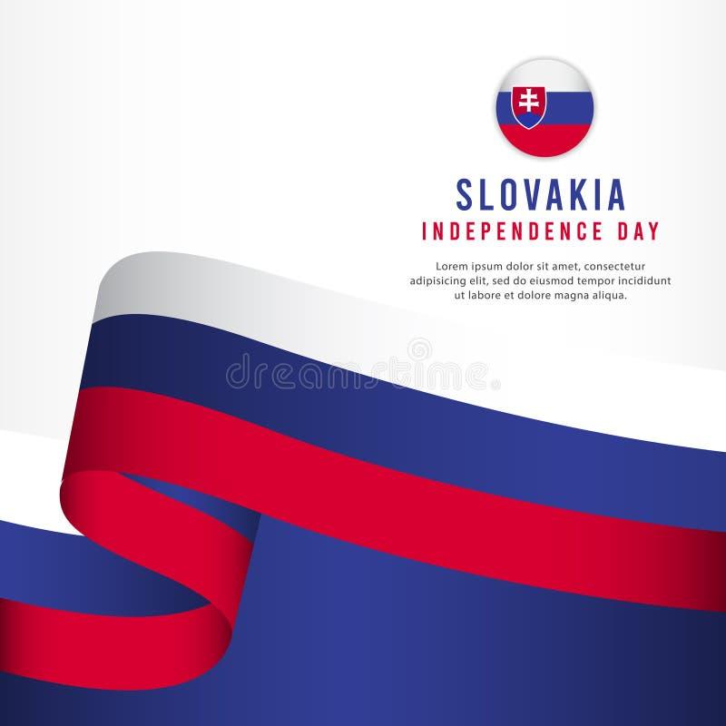 Slovakien självständighetsdagenberöm, illustration för mall för vektor för fastställd design för baner stock illustrationer