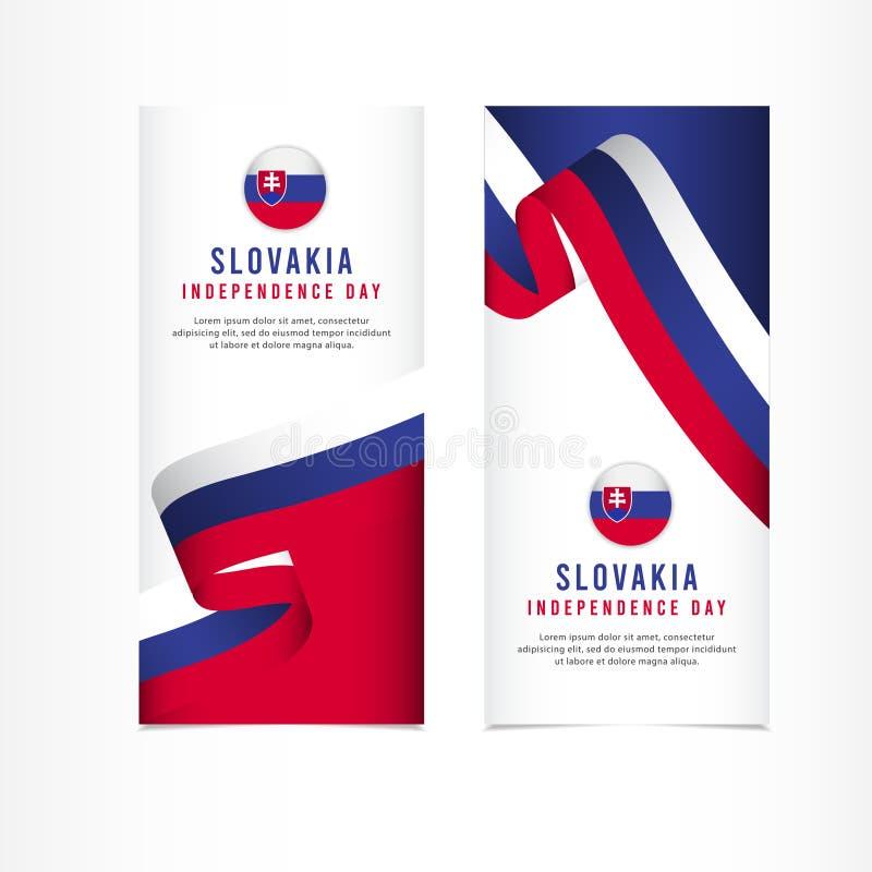 Slovakien självständighetsdagenberöm, illustration för mall för vektor för fastställd design för baner royaltyfri illustrationer