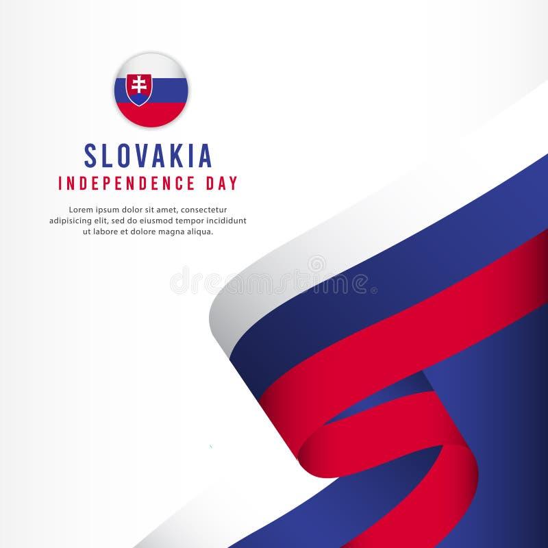 Slovakien självständighetsdagenberöm, illustration för mall för vektor för fastställd design för baner royaltyfria bilder