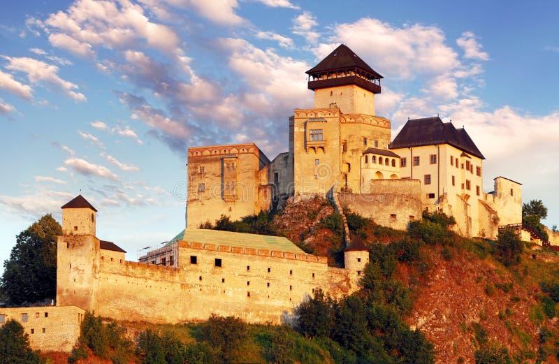 Slovakien slott - Trencin arkivbild