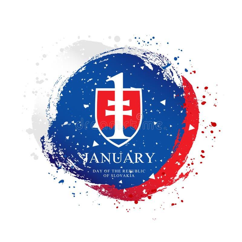 Slovakisk flagga i formen av en cirkel Januari 1 - självständighetsdagen av Slovakien stock illustrationer
