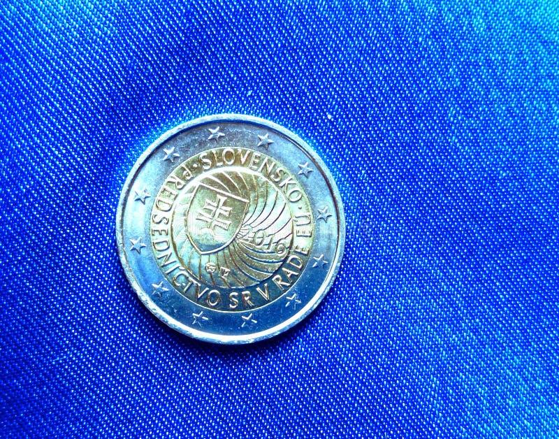 Slovakisk presidentsämbete av rådet av EU-myntet arkivfoton