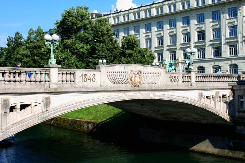 Sloveens hoofdLjubljana Draakbrug over Ljubljanica rive royalty-vrije stock foto