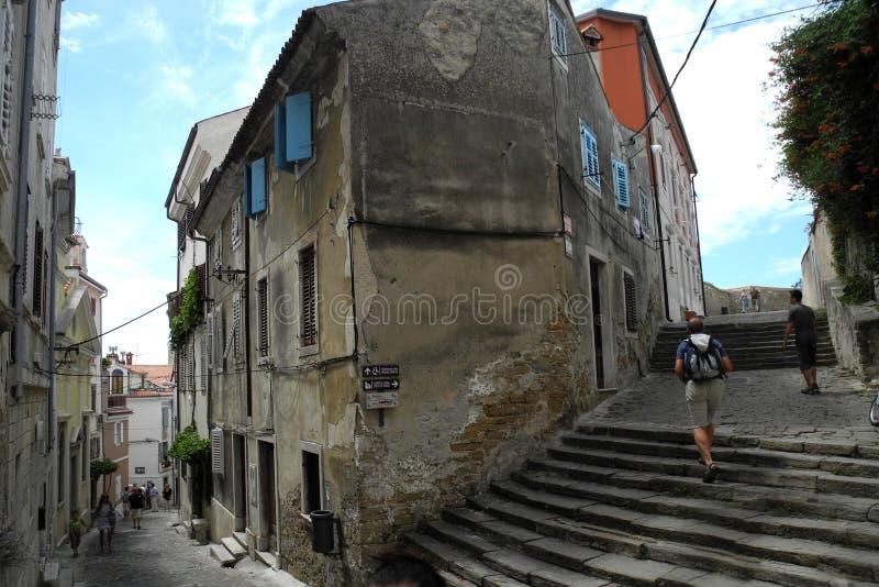 Sloveense stad van Piran stock foto