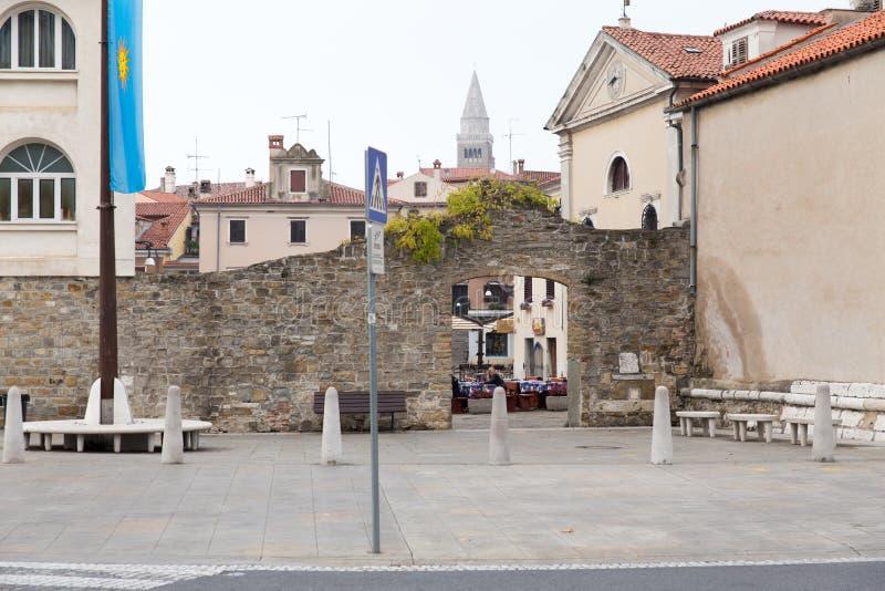 Slovenië, de oude stad van Koper stock fotografie