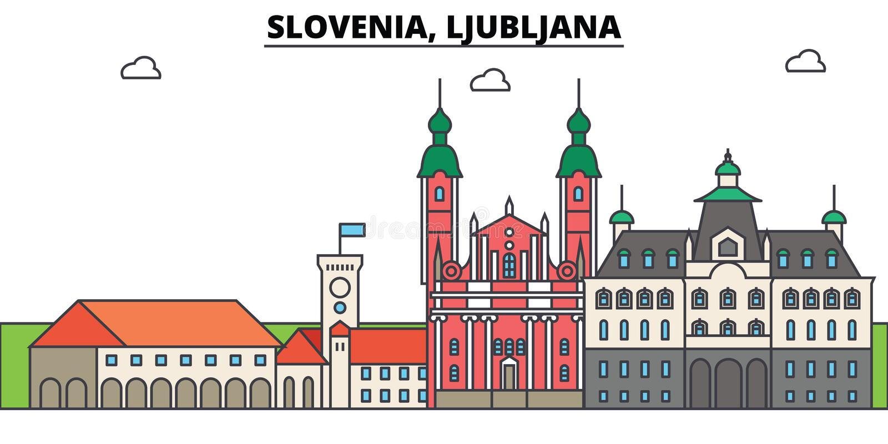 Slovenië, Ljubljana Stadshorizon, architectuur, gebouwen, straten, silhouet, landschap, panorama, oriëntatiepunten vector illustratie