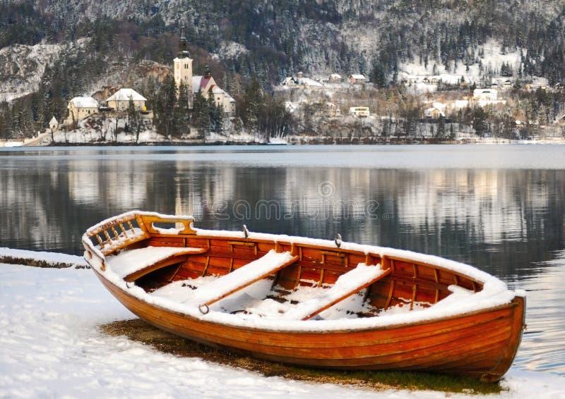 Slovenië, meer dat in de winter wordt afgetapt royalty-vrije stock afbeeldingen