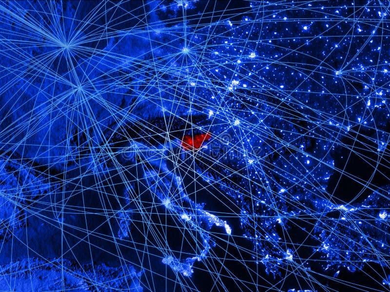 Slovenië op blauwe digitale kaart met netwerken Concept internationale reis, mededeling en technologie 3D Illustratie royalty-vrije illustratie