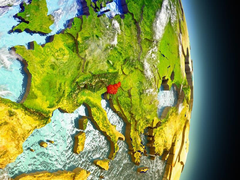 Slovenië in rood van ruimte royalty-vrije illustratie