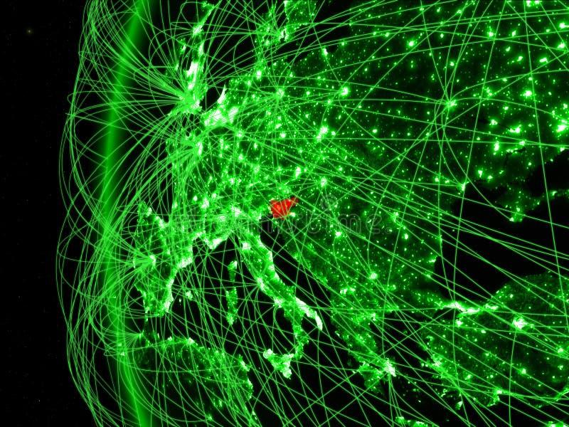 Slovenië van ruimte op groen model van Aarde met internationale netwerken Concept groene mededeling of reis 3D Illustratie stock foto's