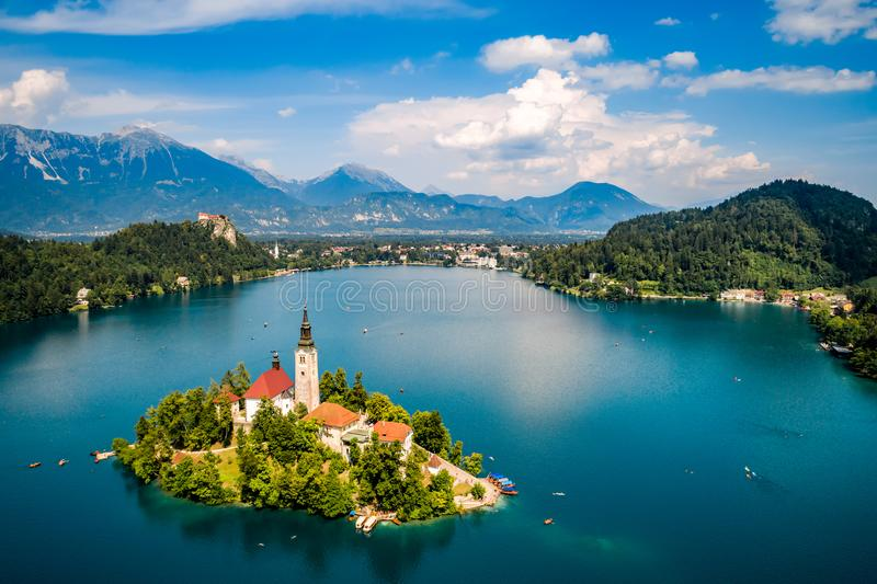 Slovenia - resort Lake Bled. Slovenia - aerial view resort Lake Bled stock photos