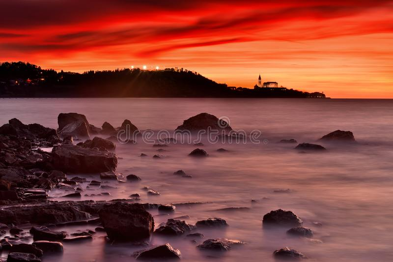Slovenia beautiful landscape ,seashore with church stock photos