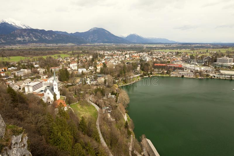 Slovenia - Bled - Aerial view of Bled resort, settlement and lake taken from Bled castle stock image