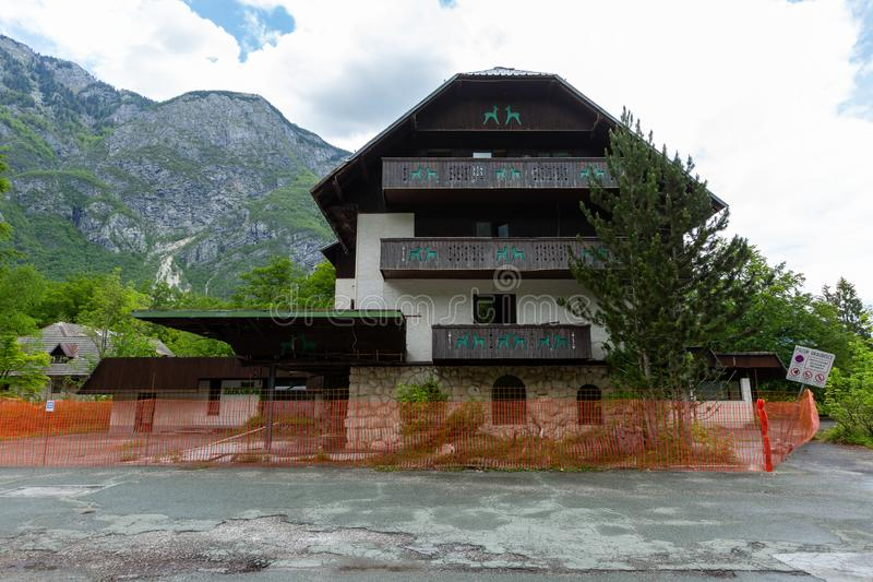 Hotel Zlatorog at Lake Bohinj and Ukanc village stock photos