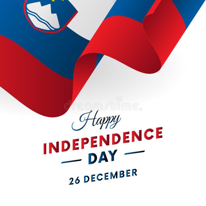 Slovenia dzień niepodległości 26 Grudzień Machać flaga w sercu wektor ilustracja wektor