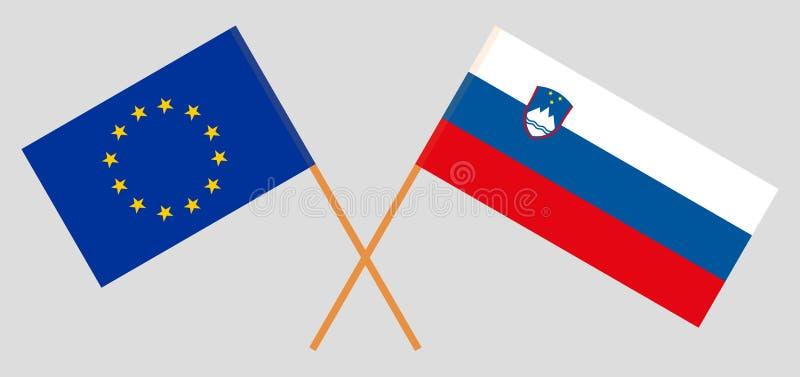 Slovenia i UE Słoweńskie i europejczyk flagi Oficjalni kolory Poprawna proporcja wektor ilustracji