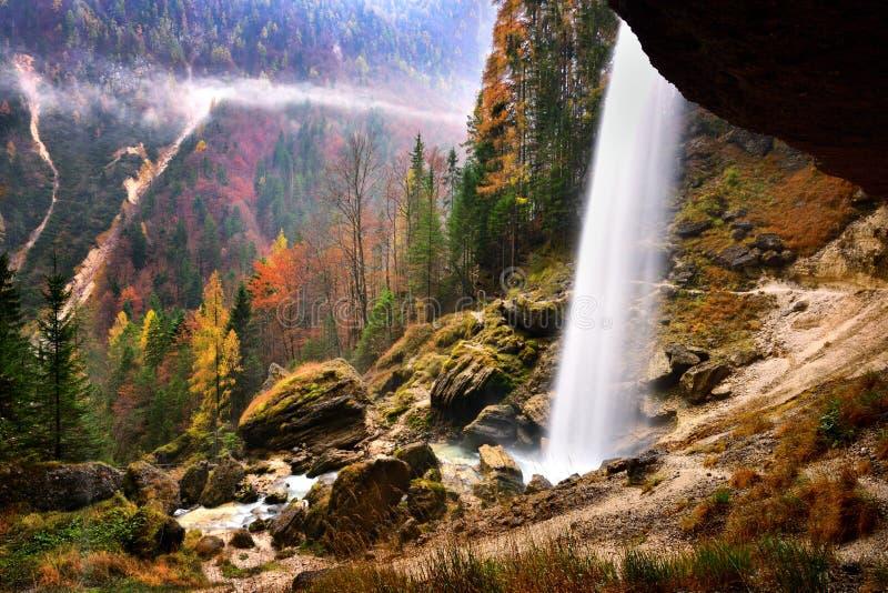 Slovenia landscape ,nature , autumn scene, nature , waterfall ,mountains. Autumn scene in Slovenia ,mist, white frost over autumn trees , landscape, nature royalty free stock images