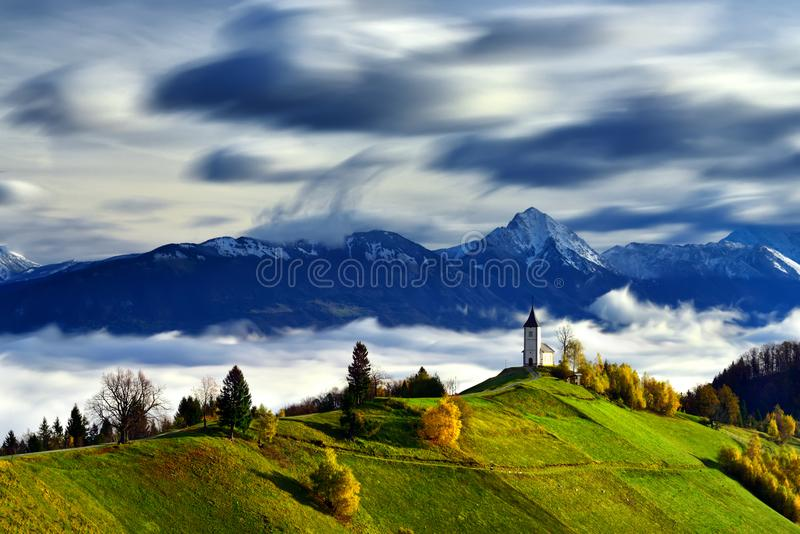 Slovenia landscape ,nature , autumn scene, nature , waterfall ,mountains. Autumn scene in Slovenia ,mist, white frost over autumn trees , landscape, nature royalty free stock image