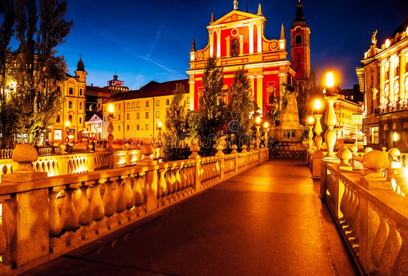 Slovenia. Ljubljana. Beautiful night view of the capital of Slovenia. The central part of the city Ljubljana. Preseren Square and royalty free stock images
