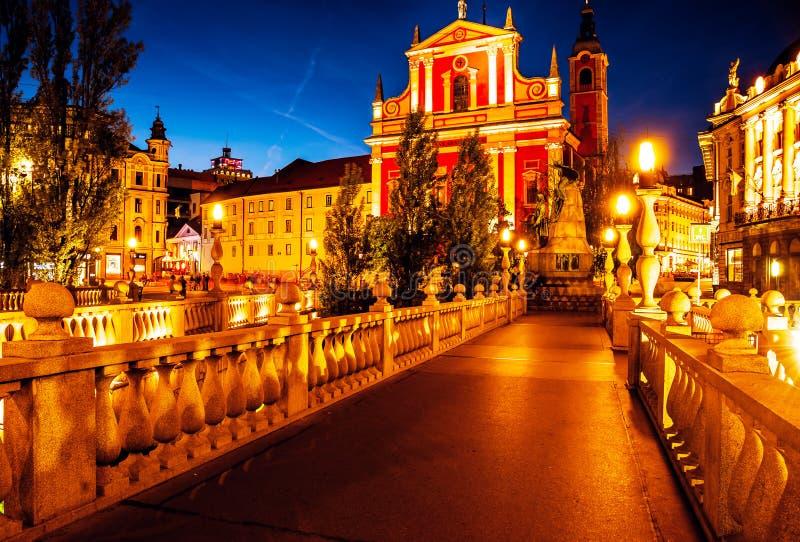 slovenia ljubljana Belle vue de nuit de la capitale de Slov images libres de droits