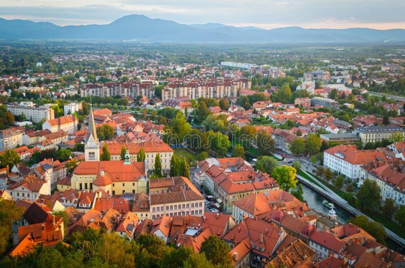 Slovenia, Ljubljana. Panoramic view at sunset royalty free stock photo