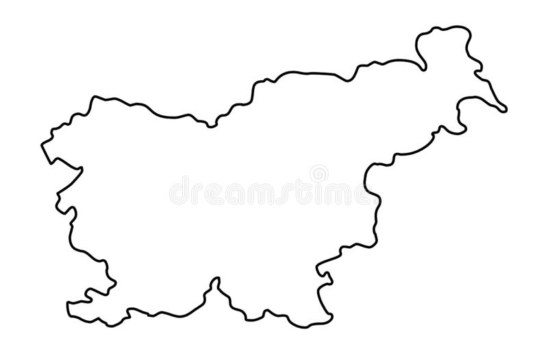 Slovenia map outline vector illustration. Isolated on white background royalty free illustration