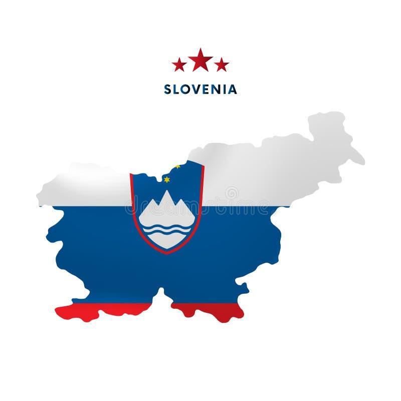 Slovenia mapa z falowanie flaga również zwrócić corel ilustracji wektora ilustracja wektor