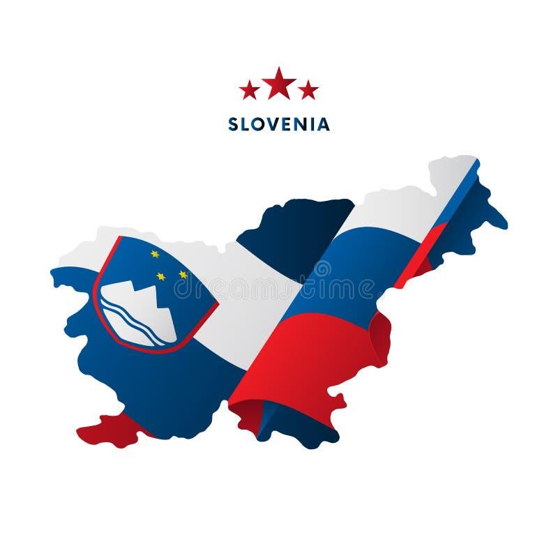 Slovenia mapa z falowanie flaga również zwrócić corel ilustracji wektora royalty ilustracja