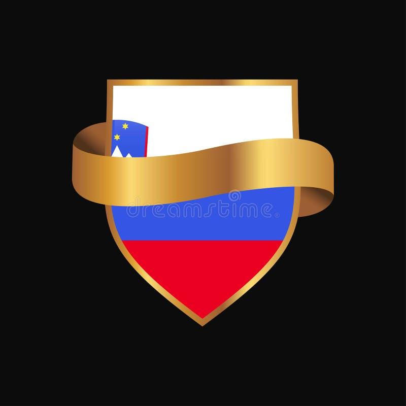 Slovenia odznaki projekta chorągwiany Złoty wektor ilustracja wektor