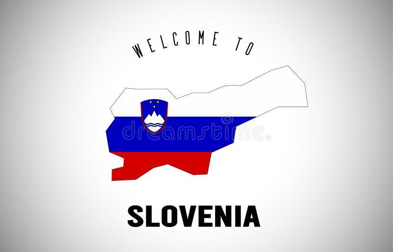 Slovenia powitanie teksta i kraju flaga wśrodku kraj granicy mapy Wektorowego projekta ilustracji
