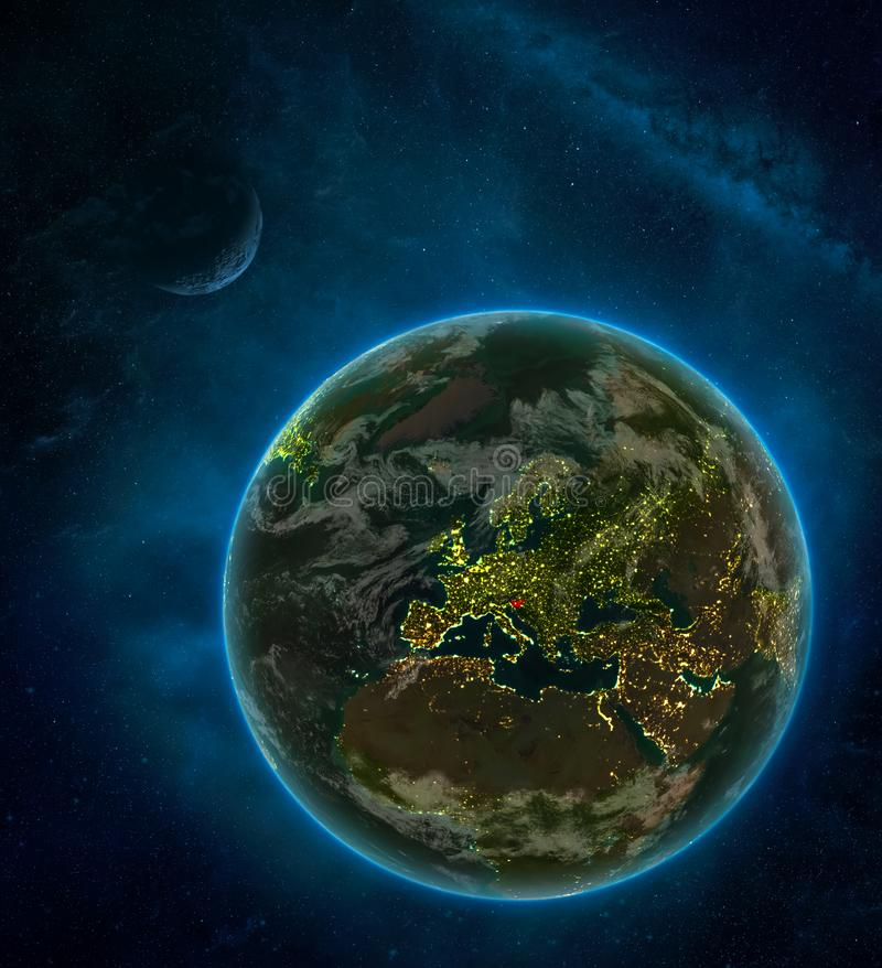 Slovenia from space on Earth at night surrounded by space with Moon and Milky Way. Detailed planet with city lights and clouds. 3D. Illustration. Elements of vector illustration