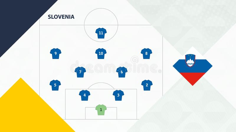 Slovenia team preferred system formation 4-2-3-1, Slovenia football team background for European soccer competition.  vector illustration