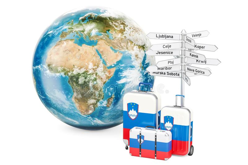 Slovenia travel concept. Suitcases with signpost and Earth Globe. 3D rendering royalty free illustration