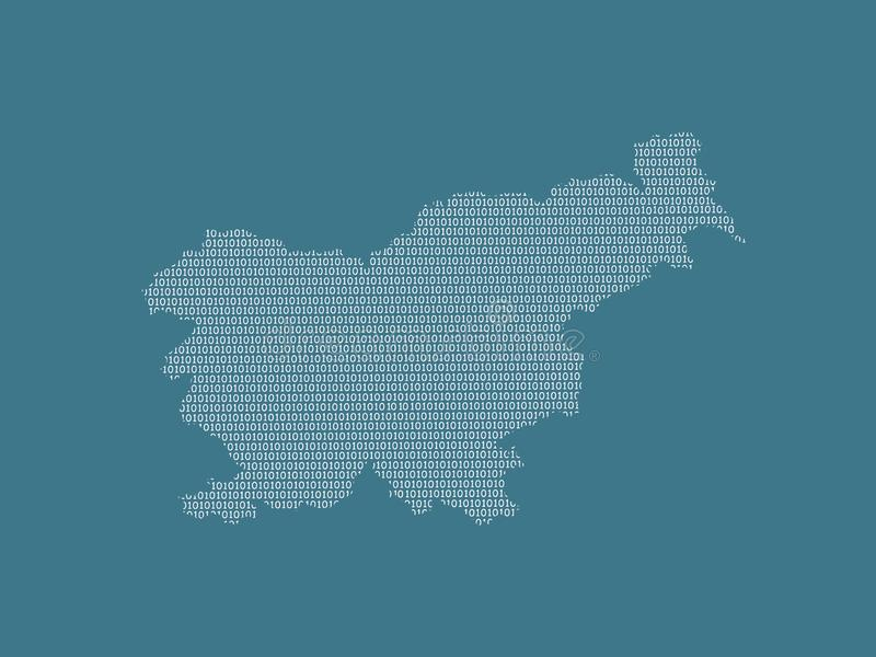 Slovenia vector map using white binary digits on dark background to mean digital country and the advancement of technology. Illustration royalty free illustration