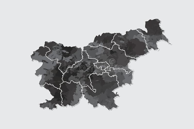 Slovenia watercolor map vector illustration of black color with border lines of different divisions or regions on light background. Using paint brush in page stock illustration