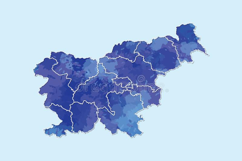 Slovenia watercolor map vector illustration of blue color with border lines of different divisions or regions on light background. Using paint brush in page royalty free illustration
