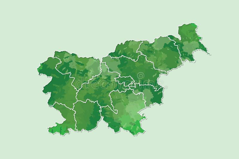 Slovenia watercolor map vector illustration of green color with border lines of different divisions or regions on light background. Using paint brush in page stock illustration