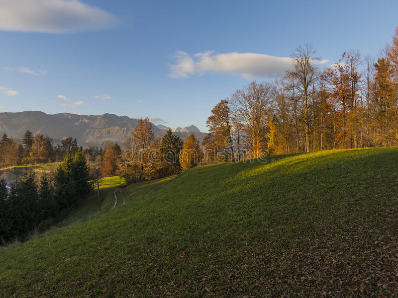 Slovenian alps in Atumn. Slovenian alps and hills in fall stock photo