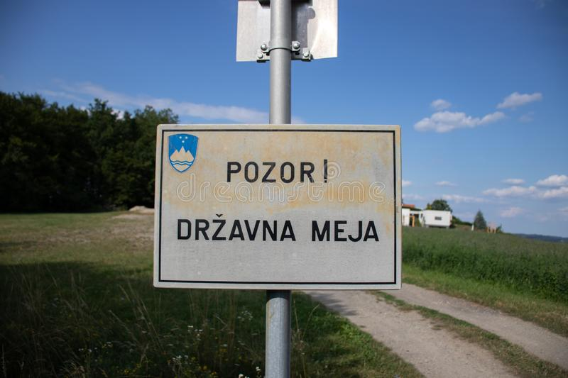 Slovenian state border sign. Slovenian state border crossing sign royalty free stock images