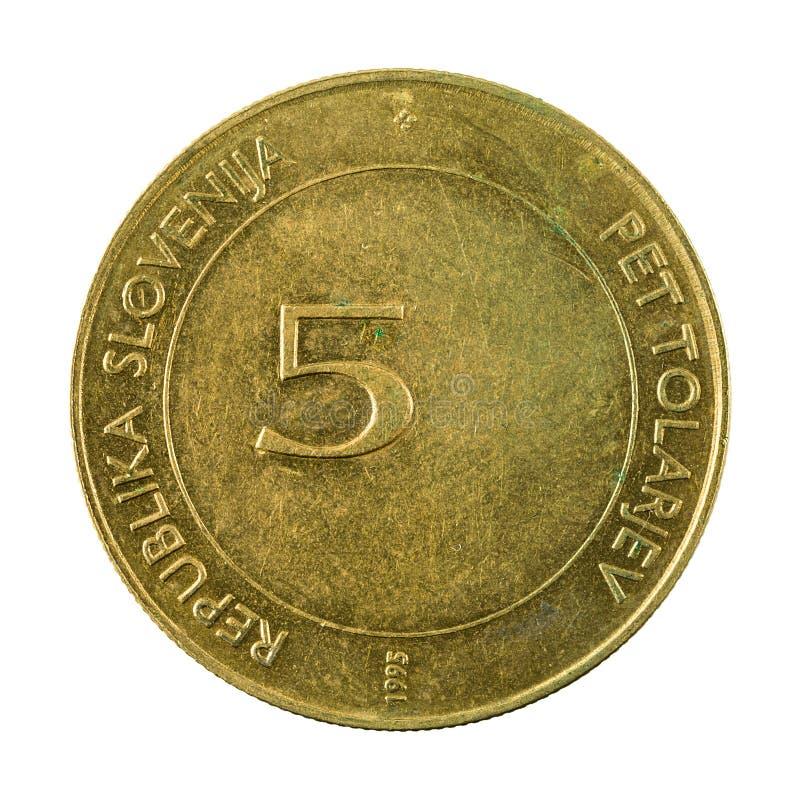 5 slovenian tolar coin 1995 obverse isolated on white backgrou. Nd, specimen stock photos