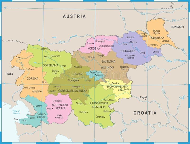 Slovenien översikt - detaljerad vektorillustration vektor illustrationer