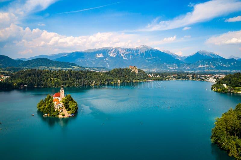 Slovenien - blödd semesterortsjö arkivbild