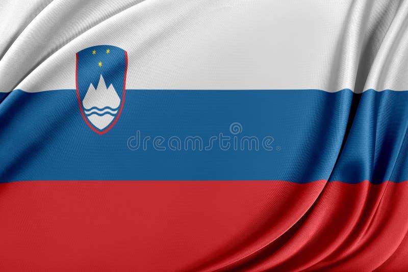 Slovenien flagga med en glansig siden- textur stock illustrationer