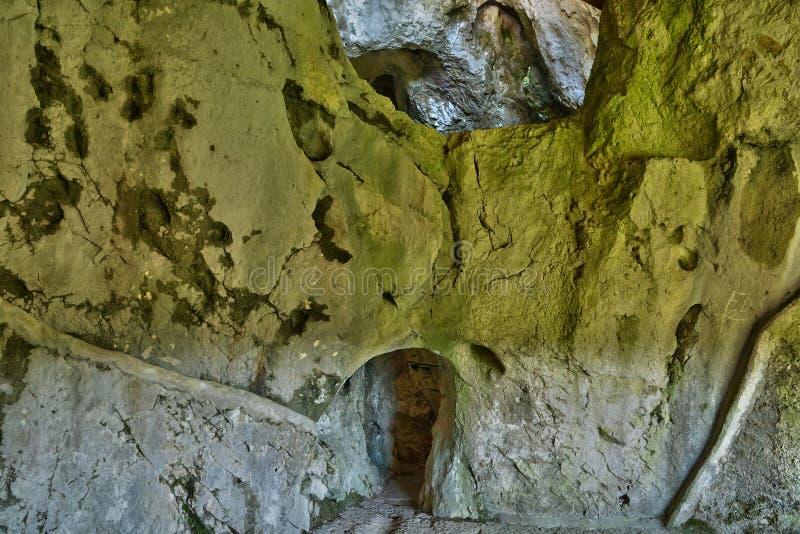 Slovenien, pittoresk och historisk slott av Predjama fotografering för bildbyråer