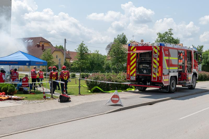 Emergency Services Workers train in joint action with Rescuers, Firemen, Police and Red Cross in Slovenska Bistrica stock photo