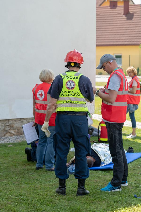 Emergency Services Workers train in joint action with Rescuers, Firemen, Police and Red Cross in Slovenska Bistrica royalty free stock photos
